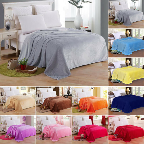 Solid Fleece Blanket Large Bed Sofa Travel Throw Soft Comfy Warm Double amp; King $10.54