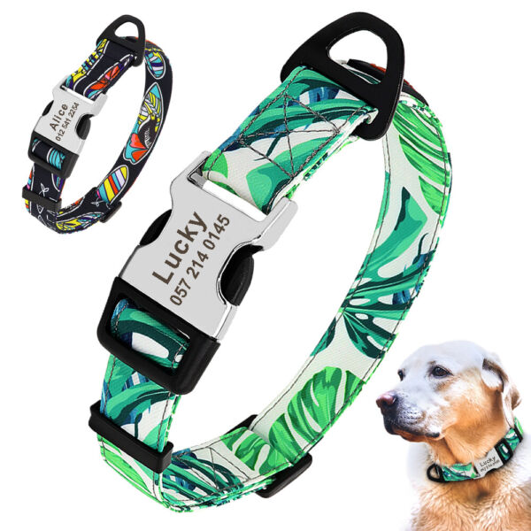 Nylon Personalized Dog Collars Custom Pet ID Nameplate Engraved Small Large Dogs $8.99