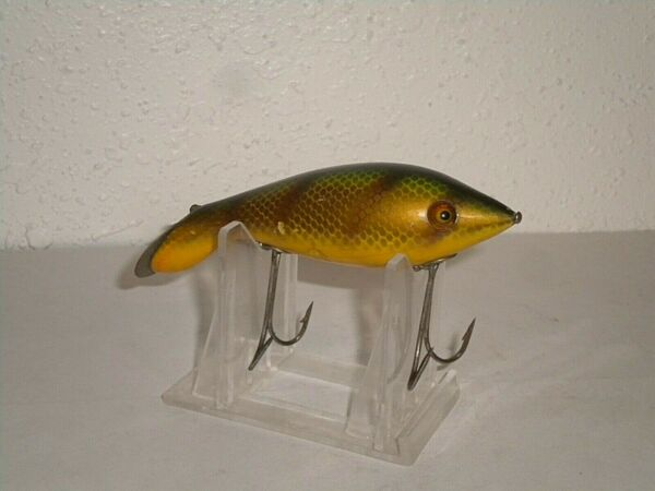 Vintage HEDDON TADPOLLY Fishing Lure Wood Glass Eyes L Rig Perch Scale $80.00