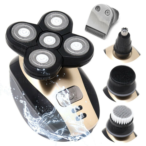 5 in 1 Rotary Electric Shaver 4D Rechargeable Bald Head Hair Beard Trimmer Razor
