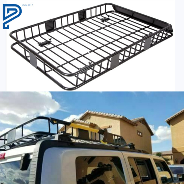 64quot; Universal Black Roof Rack Cargo Carrier w Extension Luggage Hold Basket SUV $99.88