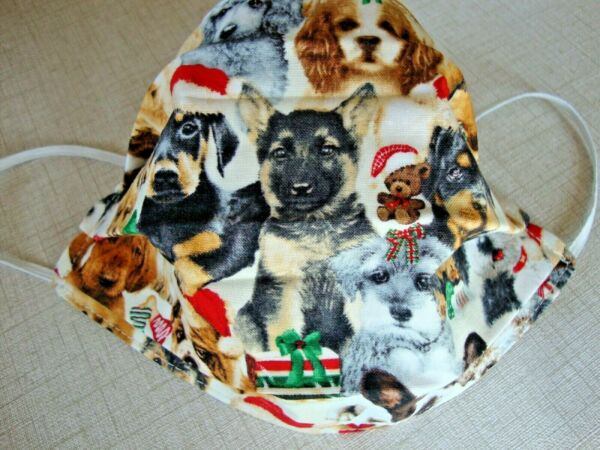 FACE MASK ADULT quot;SANTA DOGSquot; NEW REVERSIBLE HOMEMADE $4.75