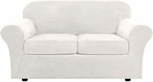 Real Velvet Plush Stretch Sofa Cover Slipcover Loveseat Soft Off White 58quot; 72quot; $49.99