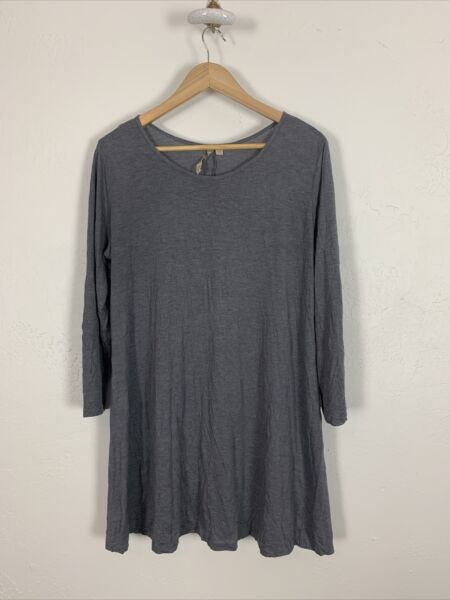 Comfy USA Tunic Top Large Shirt Pullover Gray Long Crinkle Womens L $26.99