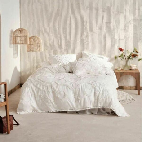 Linen House Rapallo White 100% Cotton Quilt Cover Duvet Doona Set Super King AU $319.99