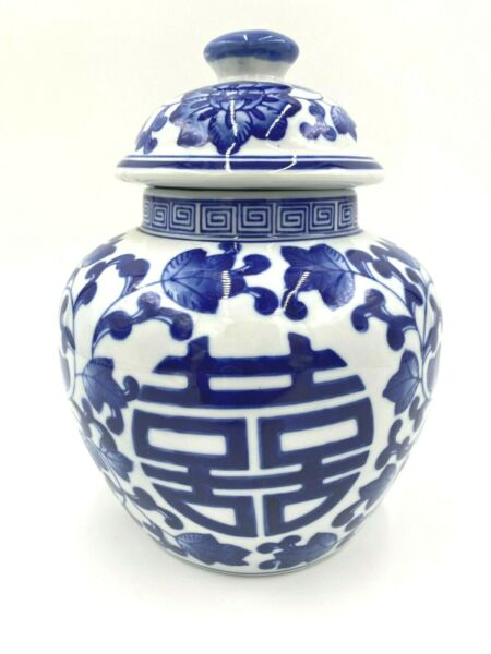 BLUE amp; WHITE FLORAL DOUBLE HAPPINESS GINGER JAR ? WITH LID $39.99