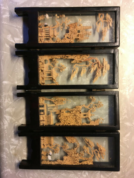 VTG Chinese Carved Cork Lacquered Wood Glass 4 Panel Table Folding Screen $20.00