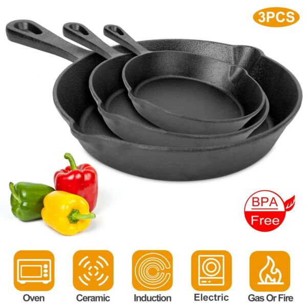 3 Piece Cast Iron Skillet Set Pre Seasoned Non stick Oven 6 8 10quot; Frying Pan