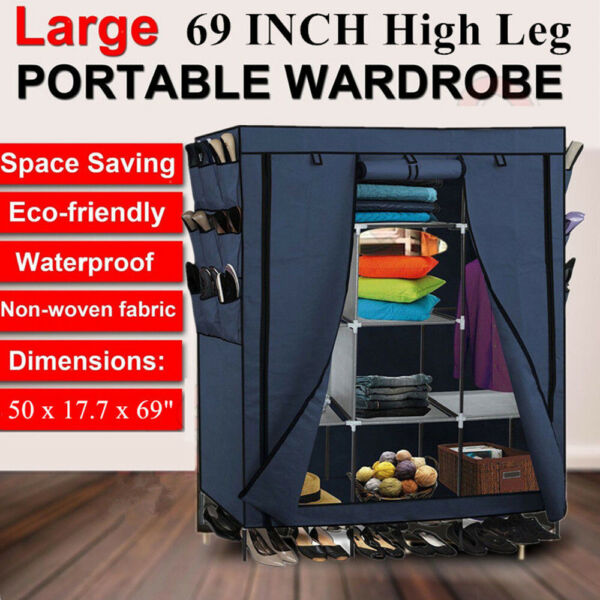 Heavy Duty 69quot; Closet Storage Organizer Wardrobe Clothes Rack with Shelves Shelf