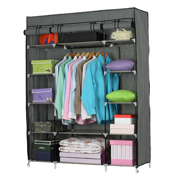 69quot; Heavy Duty Portable Closet Storage Organizer Wardrobe Clothes Rack Shelves