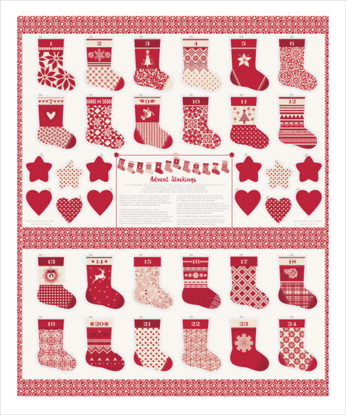 Moda MERRY MERRY by Kate Spain Red Advent Stocking Panel. Free Shipping
