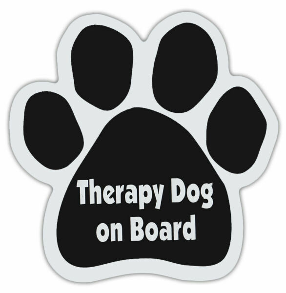 THERAPY DOG ON BOARD Paw Car Magnet cars truck refrigerators gifts $4.99