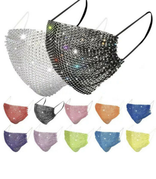 4 X Bling Rhinestone Glitter MESH Fancy Face Mask COVER US SELLER Many Colors $19.99