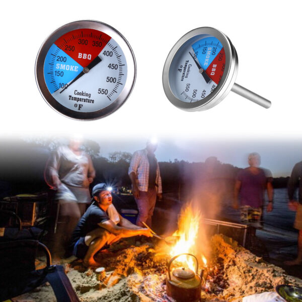 Barbecue BBQ Smoker Grill Thermometer Temperature Gauge Stainless Steel 100 550℉