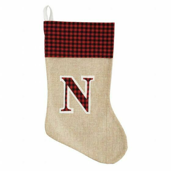 Holiday Style Red Burlap Monogram Stocking Initial N 16quot; NWT