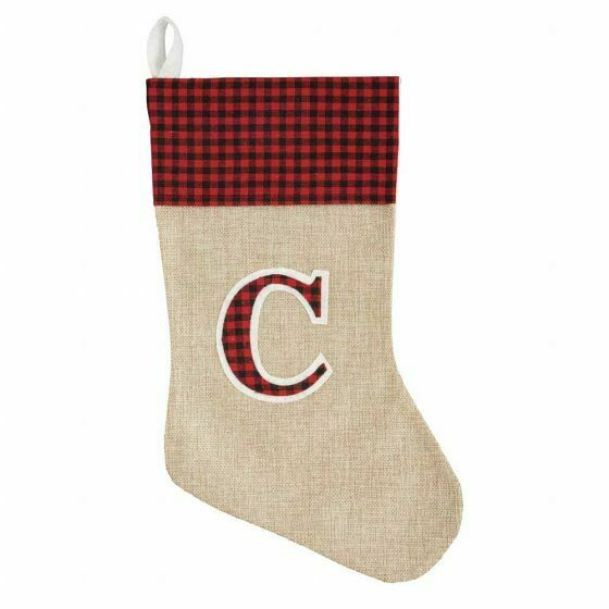 Holiday Style Red Burlap Monogram Stocking Initial C 16quot; NWT