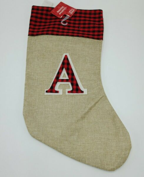 Holiday Style Red Burlap Monogram Stocking Initial A 16quot; NWT