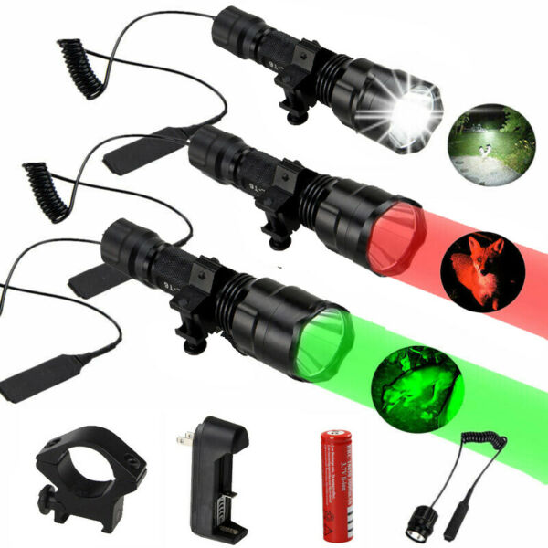 C8 Tactical Hunting Flashlight XML T6 LED Weapons light Rifle Scope Mount Torch
