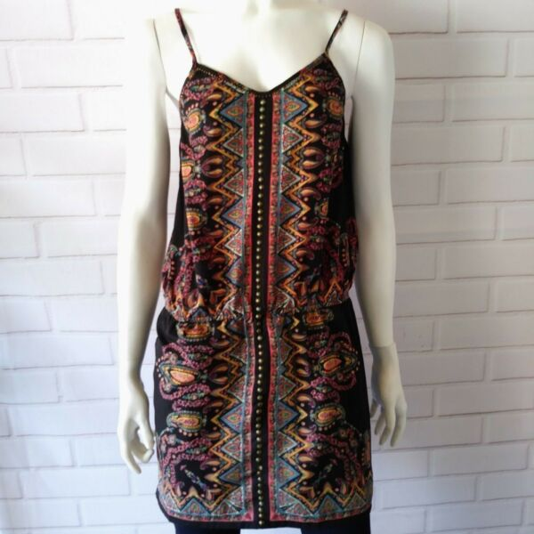 Angie Size Small Tank Top Black Patterned Studded Spaghetti Strap Boho Casual $18.69