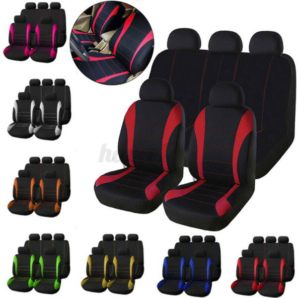 9x Car SUV Van Seat Covers 9 Pieces Front amp; Rear Full Interior Set Split Bench $20.34