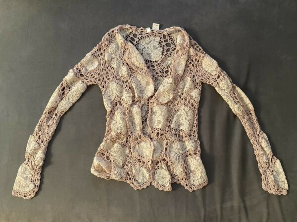 Anthropology Moth Gorgeous Lace And Crochet Cardigan Light Pink amp; Cream Top S