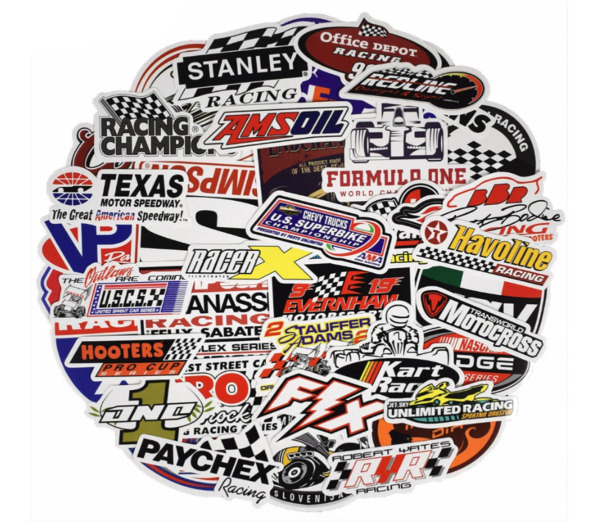 Stickers Lot 50pcs Racing Car Racing Stickers Decals F1 Motocross Kart Dirt Bike