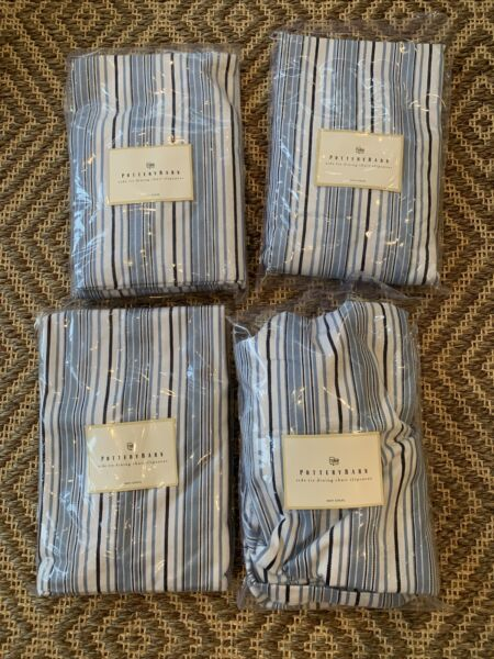 4 Pottery Barn Dining Side chair Slipcover Stripe Cotton twill Blue White Navy $68.00