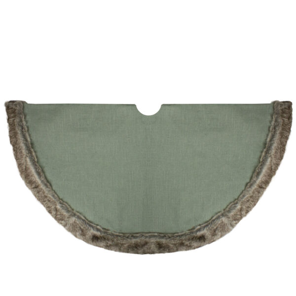 48quot; Green Burlap Christmas Tree Skirt with Faux Fur Trim