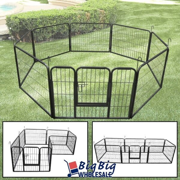 24 Inch 8 Panels Tall Dog Playpen Large Crate Play Pen Fence Pet Exercise Cage