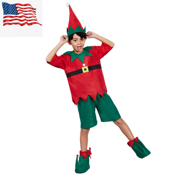 Kids Boys Christmas Santa#x27;s Helper Elf 4 Piece Set Costume US Shipping $12.99