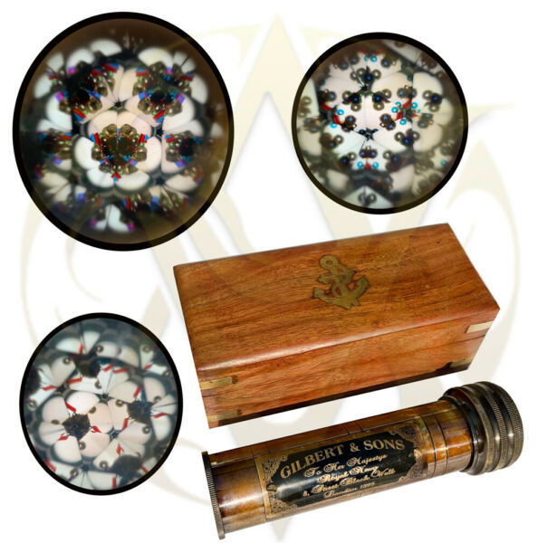 Brass Kaleidoscope with wooden box Vintage Antique Gifts For Kids Boy Girl Son
