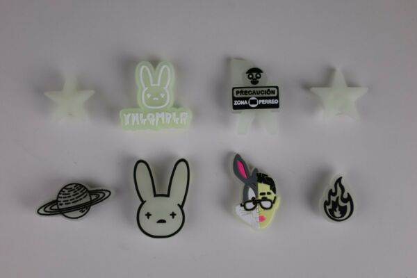 NEW 7 pc BAD BUNNY Shoe Charms FOR Croc amp; Bracelet amp; shoe Wristband Glow In Dark