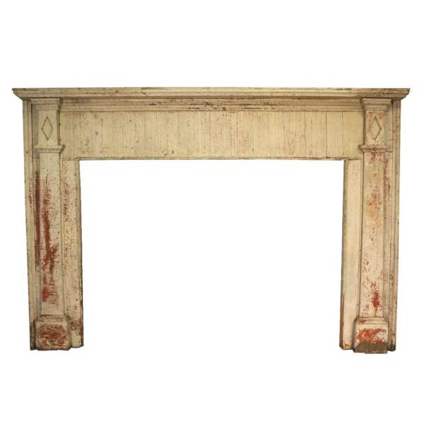Small Antique American White Painted Pine Fireplace 19th century