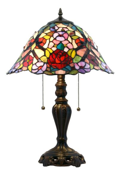 """NEW Handcrafted Stained Glass Tiffany Style Table Lamp 20""""H x 14""""W 1230"""