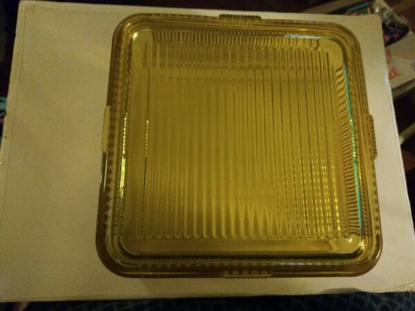 Vtg Federal Amber Depression Glass 8.5 Square Ribbed Refrigerator Dish w Lid