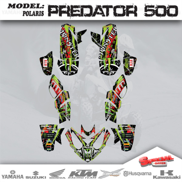 Graphics Kits Decals Stickers Monster For POLARIS PREDATOR 500 2003 2007 $89.10