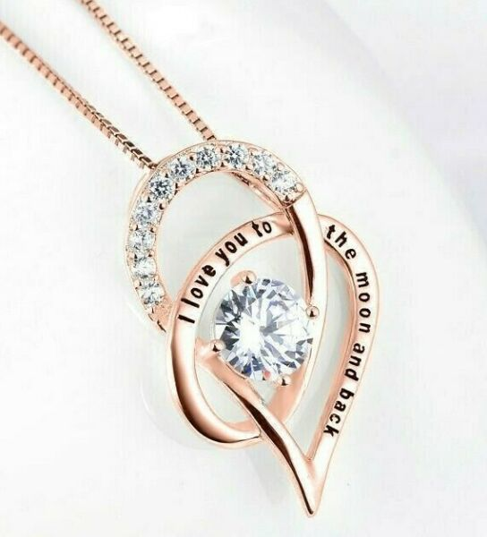 I LOVE YOU in 100 languages ROSE GOLD Pendant Necklace For Memory of LOVE $6.99