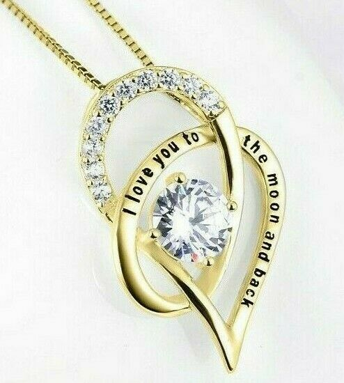 VALENTINES DAY GIFT With Crystal Heart 18quot; Necklace LOVE YOU 18K Gold $9.99
