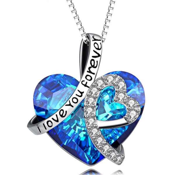 BIRTHDAY GIFTS FOR WIFE GIRLFRIEND WOMEN SILVER I LOVE YOU HEART NECKLACE