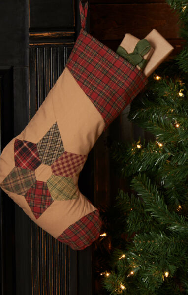 New Primitive Country QUILTED STAR RED TARTAN PLAID STOCKING 15quot; $12.99