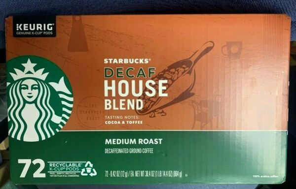 Starbucks Coffee Decaffeinated Medium Roast House Blend K Cup 72 Count BB 12 20