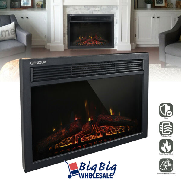 1400W 24quot; Electric Fireplace Heater Insert Freestanding Adjustable Flame Remote