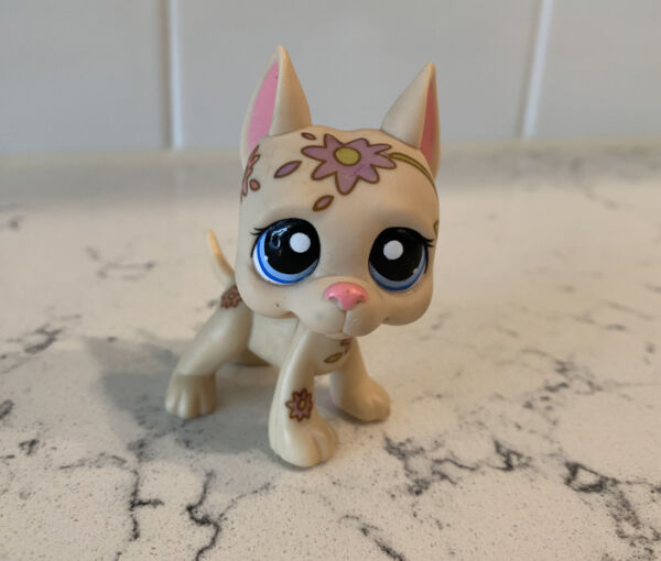 Littlest Pet Shop LPS No # Deco Tattoo Great Dane Dog Blue Eyes Played With $14.00