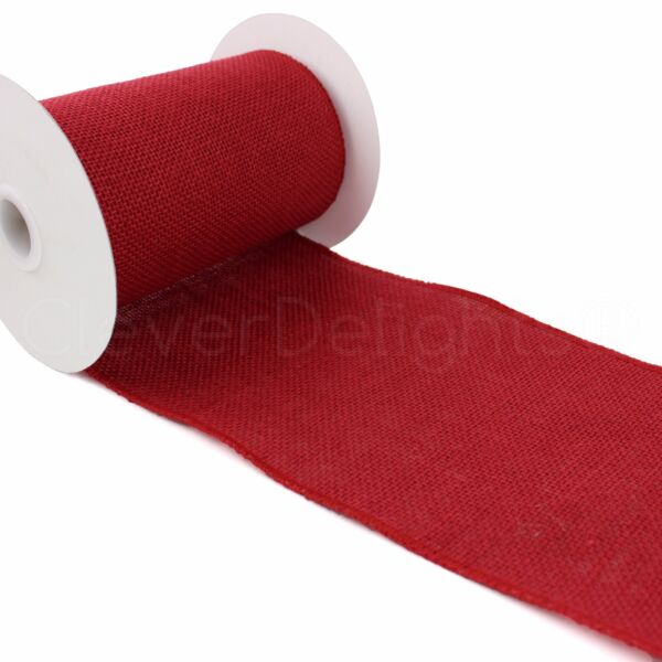 6quot; Red Burlap Ribbon 10 Yards Wired Finished Edges Super Fine Weave