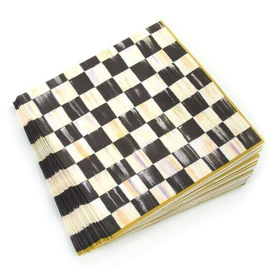 NEW MacKenzie Childs Courtly Check Paper Napkins Gold Dinner 20 per Pack