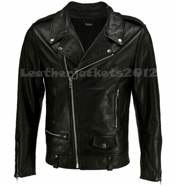 MEN REAL LEATHER JACKET ASYMMETRICAL SLIM REAL BIKER NEW VINTAGE