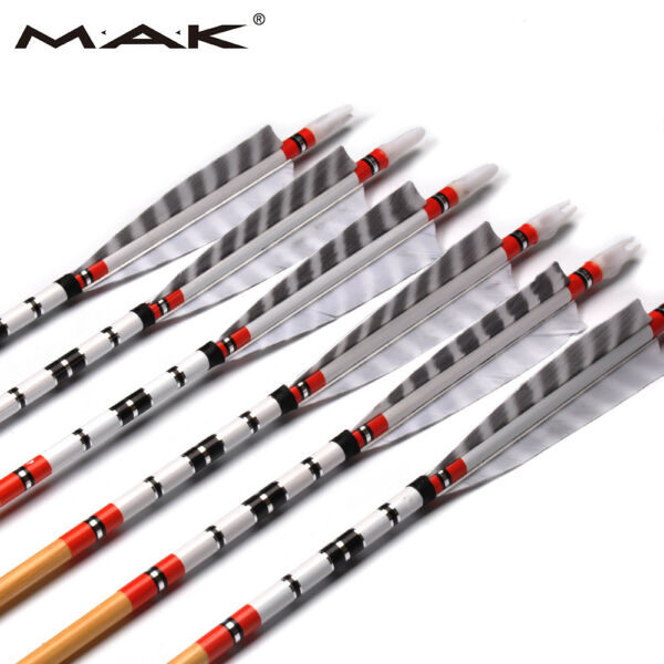6X80cm Wholesales Traditional Wood Arrows Archery With Feathers For Hunt Shoot $25.37