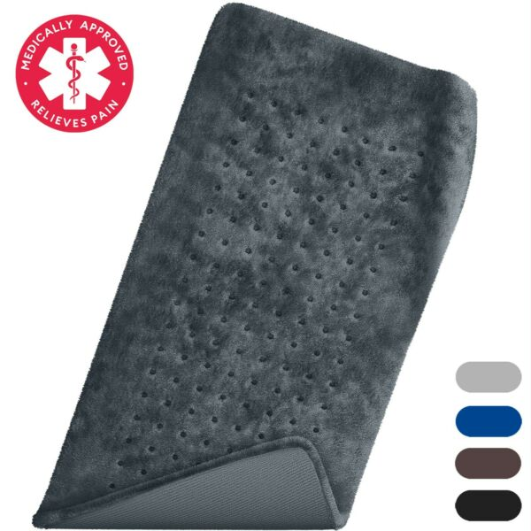 Moist amp; Dry XL Electric Heating Pad for Back Pain Neck amp; Shoulders Navy Gray $29.98