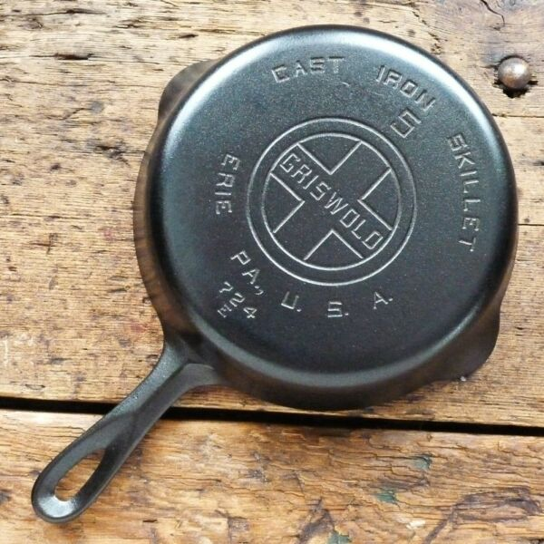 Vintage GRISWOLD Cast Iron SKILLET Frying Pan # 5 LARGE BLOCK LOGO Ironspoon