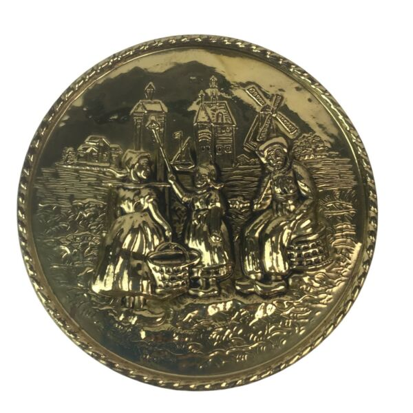 Vintage Brass Metal Hammered 8 Round Holland Scene 3D Wall Hanging Plate Decor